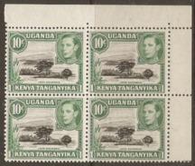 Kenya And Uganda & Tanganyika 1938 SG 135 10c Corner Block Of Four Mounted Mint - Kenya, Uganda & Tanganyika