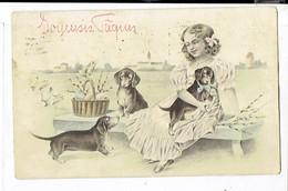 41990 - FILLE AVEC CHIENS - MEISJE MET HONDEN - GIRL WITH DOGS - Illustrateurs & Photographes