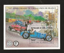 A) 1981 IVORY COAST, GRAND PRIX DE MONACO 1933, FRANCE, CAR RACE, PEOPLE, SOUVENIR SHEETS CTP. - Ivory Coast (1960-...)