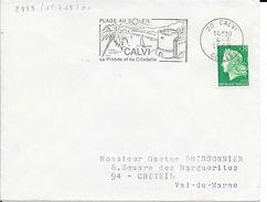 CORSE 20 -  CALVI   - FLAMME N° 2888  -  VOIR DESCRIPTION    -  1969 - - Postmark Collection (Covers)