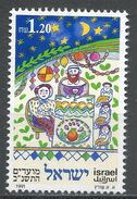 Israel 1991. Scott #1091 (MNG) Family Seated At Harvest Table, Sukkoth. Jewish Festival - Israel