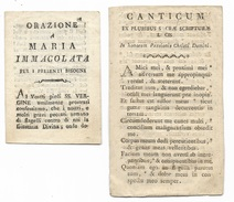 2 Fogli -  Ex Pluribus Sacra Scriptura Licis E Orazione A Maria Immacolat Su Carta Vergellata Fine 800 -- - Santini