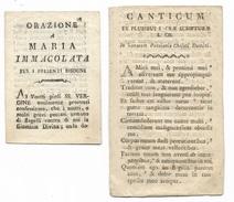 2 Fogli -  Ex Pluribus Sacra Scriptura Licis E Orazione A Maria Immacolat Su Carta Vergellata Fine 800 -- - Andachtsbilder