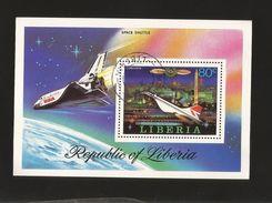 A) 1978 LIBERIA, CONCORDE, AVIATION, SPACE SHUTTLE, SOUVENIR SHEETS CTP. - Liberia