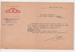 """LETTRE AUTOGRAPHE PRODUCTION CODO FILM Pour TOURNAGE DANS LE FILM """"MANDRIN"""" Emile COLOMBAN Dit PAUL COBAN Poëte En 1947 - Autographes"""