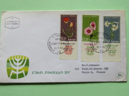 Israel 1963 FDC Cover To France- Flowers - Israel