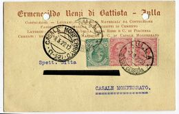 CARTOLINA COMMERCIALE LATERIZI E CEMENTI ERMENEGILDO RENZI DI BATTISTA MASSA CARRARA ANNO 1922 VIAGGIATA - Massa
