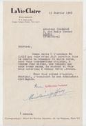 LETTRE AUTOGRAPHE MARIE REINE GEFFROY écrivain Pour LA VIE CLAIRE Adressée à Emile COLOMBAN Dit PAUL COBAN Poëte En 1948 - Autographs
