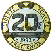 [NC] FRANCIA - 20 FRANCHI TRIMETALLICA FONDO SPECCHIO 1992 - Francia