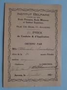 Institut BELPAIRE Rue De BOM Anvers ( 2e Prix De Conduite & D'Application / Soontiëns Blanche 1925 ) Zie Foto's ! - Diplômes & Bulletins Scolaires