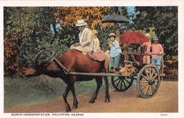 """D6248 """"FILIPPINE - BARRIO TRANSPORTATION - PHILIPPINE ISLANDS""""  ANIMATA, CARRO CON BAMBINI E BUE. CART  NON  SPED - Filippine"""