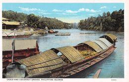 """D6251 """"FILIPPINE - CASCO AND COCOANUT GROVES - PHILIPPINE ISLANDS""""  ANIMATA, CANOA. CART  NON  SPED - Filippine"""