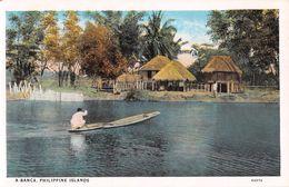 """D6252 """"FILIPPINE - A BANCA - PHILIPPINE ISLANDS""""  ANIMATA, CANOA.CON CAPANNE  CART  NON  SPED - Filippine"""
