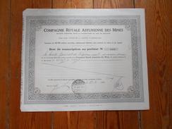"""Bon De Souscription""""Cie Royale Asturienne Des Mines""""Zinc En Espagne Bruxelles 1923 N°1408 - Mines"""