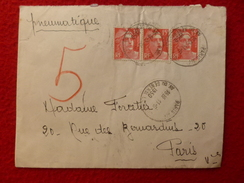PNEUMATIQUE LETTRE CACHET AV DU GENERAL LECLERC TIMBRE BLOC GANDON 1950 - 1921-1960: Modern Period