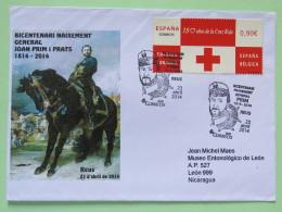 Spain 2014 Special Cancel General Prim On Cover Reus To Nicaragua - Red Cross - Horse Medal Uniform - 1931-Aujourd'hui: II. République - ....Juan Carlos I