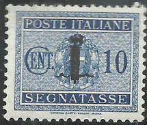 ITALIA REGNO REPUBBLICA SOCIALE RSI 1944 SEGNATASSE POSTAGE DUE PICCOLO FASCIO FASCIETTO CENT. 10 TASSE  MLH - 4. 1944-45 Social Republic