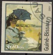 "1217B Guinea Bissau 2001 "" The Beach At Trouville "" Quadro Dipinto Da C. Monet Impressionismo  Paintings Used Imperf. - Impressionisme"
