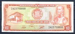 459-Pérou Billet De 10 Soles De Oro 1975 I423 - Pérou