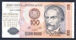 459-Pérou Billet De 100 Intis 1987 B276D Surchargé Inti Productos France - Peru