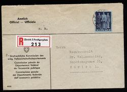A4772) Schweiz R-Dienstbrief Von Zürich 2.6.42 EF Mi.377 - Covers & Documents