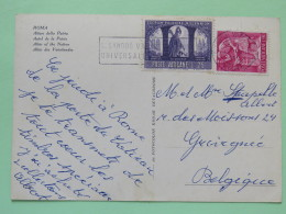 """Vatican 1966 Postcard """"""""Roma - Altar Of The Nation"""""""" To Belgium - Sacred Poland - Metal Worker - Covers & Documents"""