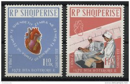 ALBANIA, WORLD HEART MONTH, MEDICINE, HEALTH, 1972 NH SET - Albania
