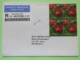 Croatia 2009 Registered Cover Nedelisce To Nicaragua - Flowers Roses - Franking Machine Label On Back - Croatia