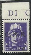 ITALIA REGNO ITALY KINGDOM 1944 REPUBBLICA SOCIALE RSI GNR LIRE 10 MNH BEN CENTRATO FIRMATO SIGNED - 4. 1944-45 Repubblica Sociale