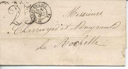 Saint Valéry En Caux TDT 25 >> La Rochelle 1853 - Marcophilie (Lettres)