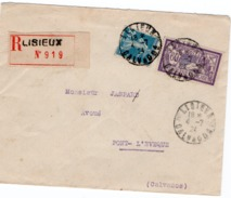LETTRE RECOMMANDEE AFFRANCHIE N° 140 + 144 - OBLITERE CAD LISIEUX  CALVADOS -1924 - Marcophilie (Lettres)