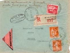 LETTRE RECOMMANDEE AFFRANCHIE N° 235+283+286 OBLITERE CAD ST HILAIRE DU HARCOUET -MANCHE - 1934 - Marcophilie (Lettres)
