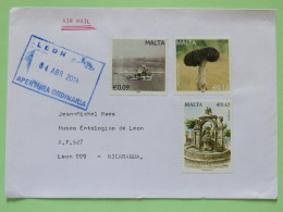 Malta 2014 Cover To Nicaragua - Plane - Tree - Fountain Or Well With Eagle - Malta