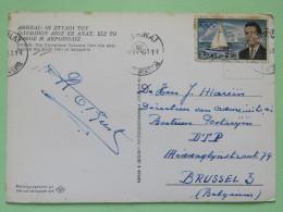 "Greece 1961 Postcard """"Athens - Olympieum Columns - Acropolis"""" To Belgium - Olympics Sailing Boat - Greece"