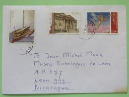 Greece 2011 Cover To Nicaragua - Temple - Ship - Christmas Angel - Head Stamp On Back - Greece