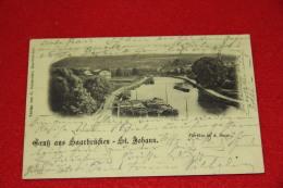 Saarland  Saarbrucken St. Johann Gruss Parthie A. D. Saar 1898 Timbre Tambach - Germany