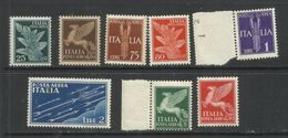 ITALY KINGDOM ITALIA REGNO 1930 1932 POSTA AEREA AIR MAIL SOGGETTI ALLEGORICI SERIE COMPLETA COMPLETE SET MNH - 1900-44 Victor Emmanuel III