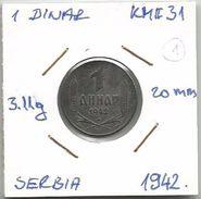 Gh2 Serbia 1 Dinar 1942. KM#31 (German Occupation WW2 ) - Serbie