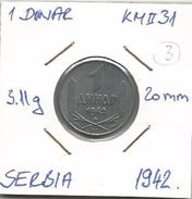Gh7 Serbia 1 Dinar 1942. KM#31 (German Occupation WW2 ) - Serbie