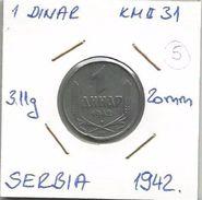 Gh7 Serbia 1 Dinar 1942. KM#31 (German Occupation WW2 ) - Serbia