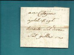 Gard -Vauvert Pour Heraclée, Nom Révolutionnaire De St-GILLES (Gard) -1794 - Postmark Collection (Covers)
