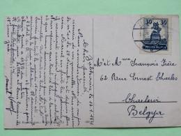 "Poland 1929 Postcard """"forest Painting"""" Zabkowice To Belgium - Horse Statue Of Sobieski At Lwow - 1919-1939 Republic"