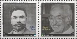 BRAZIL - SE-TENANT WRITERS, JOINT ISSUE BRAZIL/NICARAGUA 2016 - MNH - Brasil