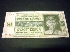 BOHEME ET MORAVIE 20 Korun 24/01/1944,pick N° 9 , BOHEMIA AND MORAVIA - Tchécoslovaquie
