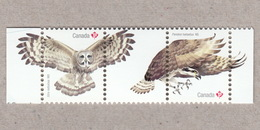 GREAT GRAY OWL, OSPREY FISH EAGLE / HAWK, BIRD OF PREY Pair With Tabs From Souvenir Sheet Birds Of Canada 2017 - Arends & Roofvogels