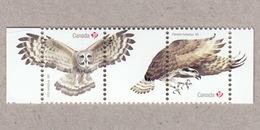 GREAT GRAY OWL, OSPREY FISH EAGLE / HAWK, BIRD OF PREY Pair With Tabs From Souvenir Sheet Birds Of Canada 2017 - Eagles & Birds Of Prey