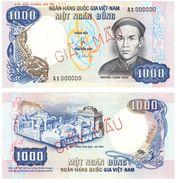 1,000 Dong Banknote Specimen 1975 P 34As Very Rare Vietnam South (RVN) - Vietnam