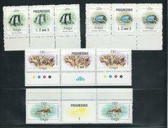 Tonga 1984 Marine Life Definitives 20s, 32s, $1, $3 Gutter Pairs MNH Specimen Overprint - Tonga (1970-...)