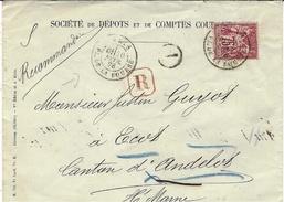 1878-  Superbe Enveloppe Reccommandée  De Paris / Pl. De La Bourse  Affr. Sage N° 71 SEUL - Marcophilie (Lettres)