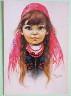 "Poland 1998 Postcard """"painting Of Girl"""" To England - Pinecones Larix - Poland"